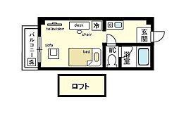 家具・家電付き ジュマパレス大橋 R  リノルーム[3階]の間取り