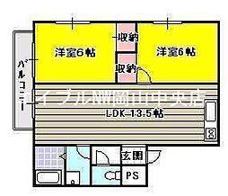 岡山県岡山市中区東川原の賃貸アパートの間取り