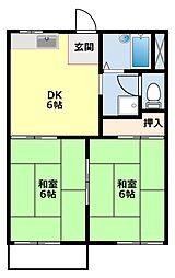 愛知県豊田市金谷町7丁目の賃貸アパートの間取り