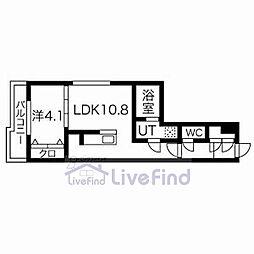 札幌市営東西線 白石駅 徒歩8分の賃貸マンション 4階1LDKの間取り