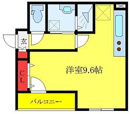 JR埼京線 板橋駅 徒歩5分の賃貸マンション 3階ワンルームの間取り