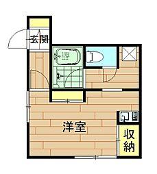 神奈川県川崎市中原区小杉御殿町2丁目の賃貸アパートの間取り