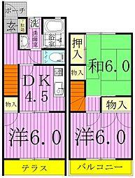フラワーハイツ紫苑A[106号室]の間取り