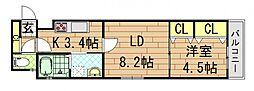 クリエオーレ稲葉[3階]の間取り