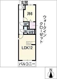 ハウスフォア 2階1LDKの間取り