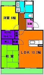 静岡県磐田市三ケ野台の賃貸マンションの間取り