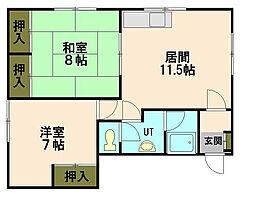 北海道小樽市新富町の賃貸アパートの間取り