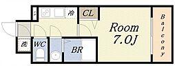 アスヴェル大阪サウスキャナル 11階1Kの間取り