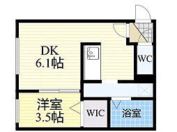 札幌市営東西線 宮の沢駅 徒歩7分の賃貸マンション 2階1DKの間取り