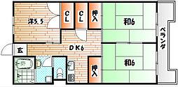 福岡県北九州市小倉北区中井5丁目の賃貸マンションの間取り