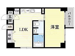 南海高野線 堺東駅 徒歩8分の賃貸マンション 9階1LDKの間取り