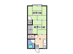 栃木県宇都宮市富士見が丘1丁目の賃貸アパートの間取り