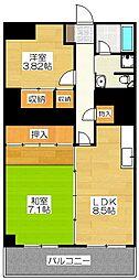 トーカン福岡第2キャステール[8階]の間取り