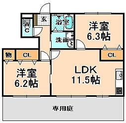 兵庫県伊丹市鴻池3丁目の賃貸アパートの間取り