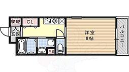 JR東海道・山陽本線 六甲道駅 徒歩6分の賃貸マンション 6階1Kの間取り