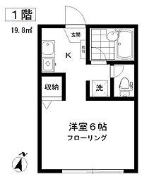 東京都目黒区中目黒5丁目の賃貸アパートの間取り