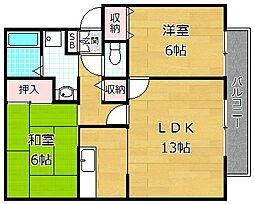 カルチェ東香里II A棟[2階]の間取り