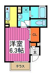 埼玉県蕨市中央6丁目の賃貸アパートの間取り
