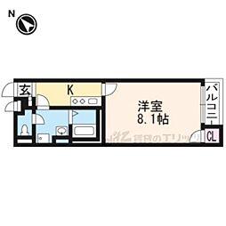 JR東海道・山陽本線 山科駅 徒歩16分の賃貸アパート 2階1Kの間取り