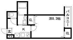 フジパレス神戸大倉山 1階1Kの間取り