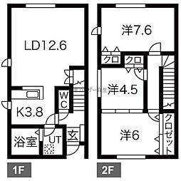 [テラスハウス] 北海道札幌市北区屯田二条1丁目 の賃貸【/】の間取り