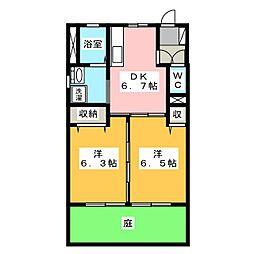 メゾンボナール B[1階]の間取り