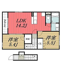 JR成田線 久住駅 徒歩10分の賃貸アパート 2階2LDKの間取り