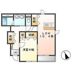 愛知県名古屋市中川区打出1の賃貸アパートの間取り