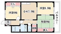 愛知県名古屋市天白区池見1丁目の賃貸マンションの間取り
