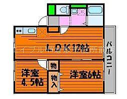 岡山県都窪郡早島町早島の賃貸アパートの間取り
