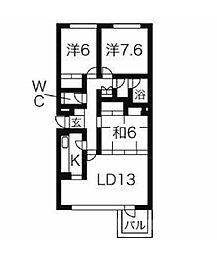 JR山手線 高田馬場駅 徒歩4分の賃貸マンション 3階3LDKの間取り