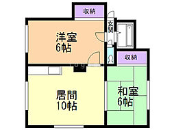 マンション斉藤 1階2LDKの間取り
