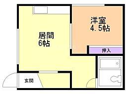 中田ハイツ 3階1DKの間取り