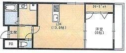 ISE伊勢住宅高師浜7107 2階1LDKの間取り