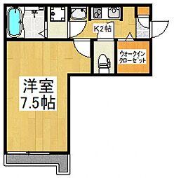 JR武蔵野線 東所沢駅 徒歩10分の賃貸アパート 1階1Kの間取り