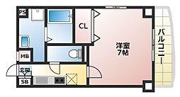 Osaka Metro谷町線 駒川中野駅 徒歩6分の賃貸マンション 2階1Kの間取り