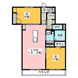 コンフォート平川 3階2LDKの間取り