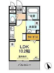 名古屋市営東山線 藤が丘駅 バス2分 井堀南下車 徒歩7分の賃貸アパート 2階ワンルームの間取り