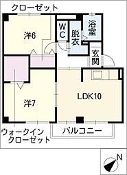 コーポファミールA棟[2階]の間取り