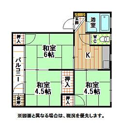 福岡県北九州市八幡西区永犬丸西町3丁目の賃貸マンションの間取り