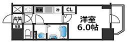エスリード大阪城クローグ 6階1Kの間取り