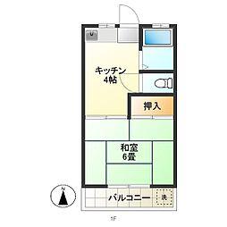 富士見コーポA[203号室]の間取り