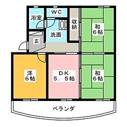 秋山ハイツA棟[3階]の間取り