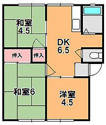 奈良県奈良市南永井町の賃貸アパートの間取り