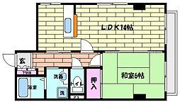 兵庫県神戸市灘区天城通6丁目の賃貸マンションの間取り