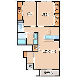 和歌山県和歌山市上三毛の賃貸アパートの間取り