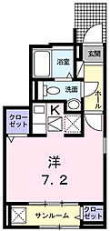JR五日市線 熊川駅 徒歩3分の賃貸アパート 1階1Kの間取り