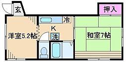 東京都荒川区西尾久4丁目の賃貸アパートの間取り