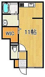 JR久大本線 田主丸駅 徒歩15分の賃貸アパート 1階ワンルームの間取り