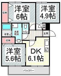 長野県長野市西和田1丁目の賃貸マンションの間取り